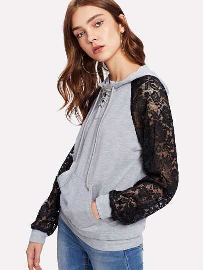 Contrast Lace Raglan Sleeve Lace Up Hoodie