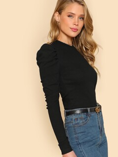 Puff Sleeve Slim Fit Top