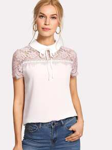 Tie Neck Lace Yoke Top