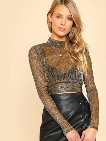 Mock Neck Metallic Mesh Top