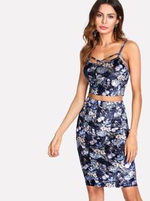 Tropical Print Velvet Cami & Skirt Set