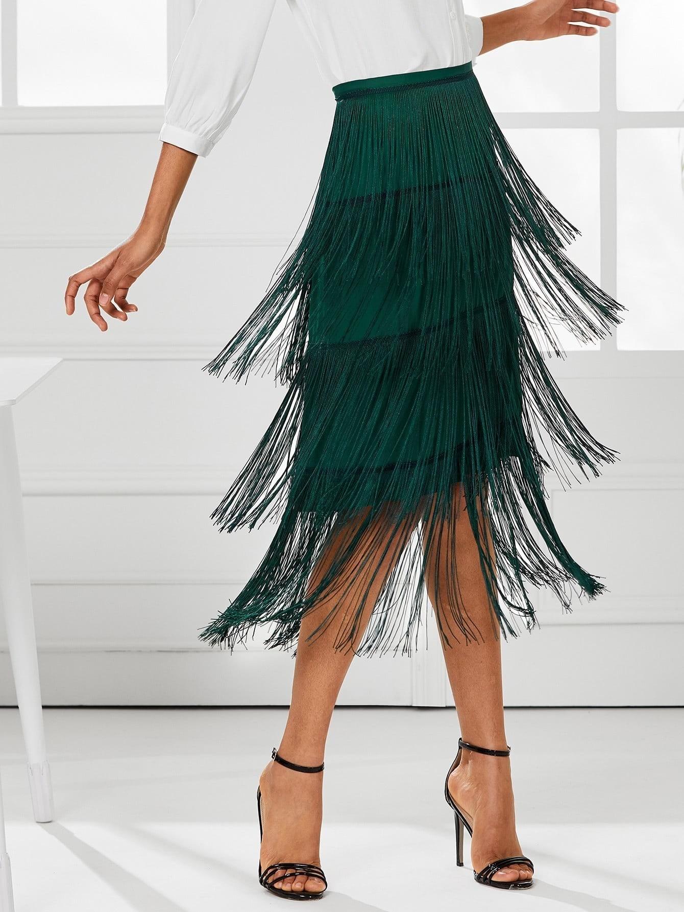 Tiered Fringe Skirt