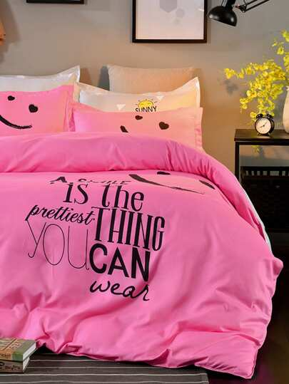 2.2m 4Pcs Slogan & Cartoon Print Duvet Cover Set