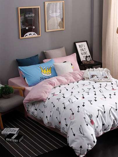 2.0m 4Pcs All Over Pattern Bed Sheet Set