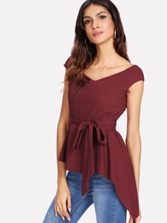 Double V Neck Self Belted Asymmetric Top