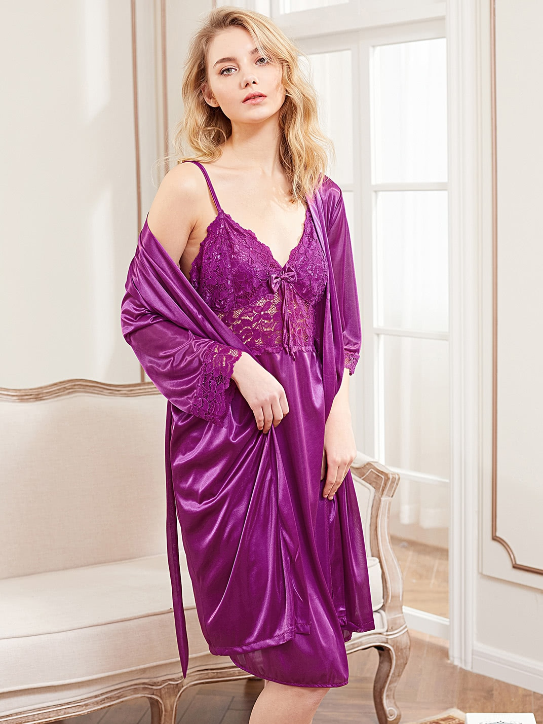 Contrast Lace Satin Slip Dress With Robe satin embroidered slip dress with robe