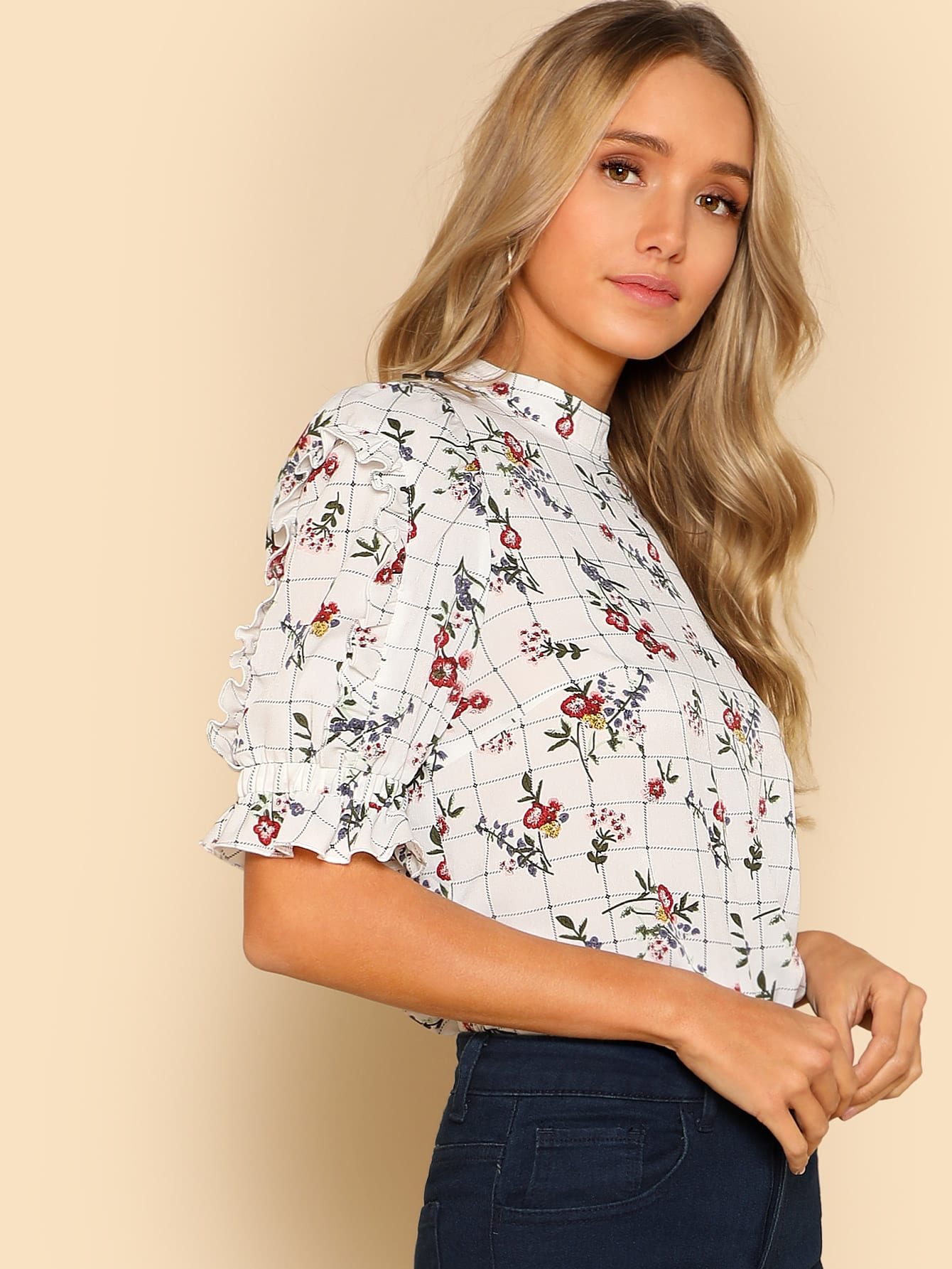 Frill Detail Mixed Print Top frill detail crochet insert embroidered mesh top