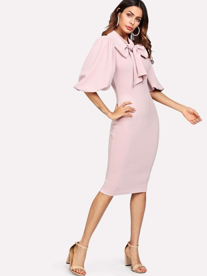 Exaggerated Puff Sleeve Tied Neck Dress