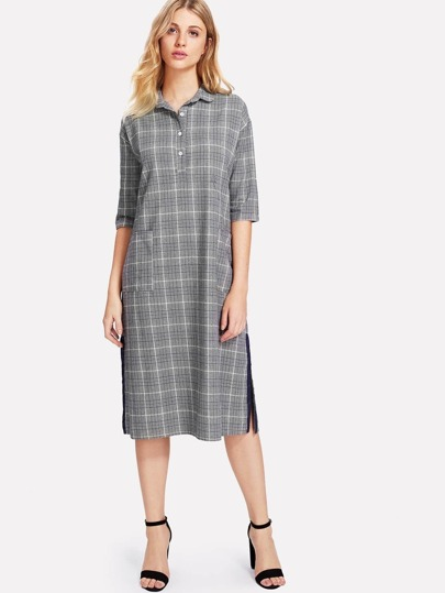 Contrast Tape Slit Side Glen Plaid Dress