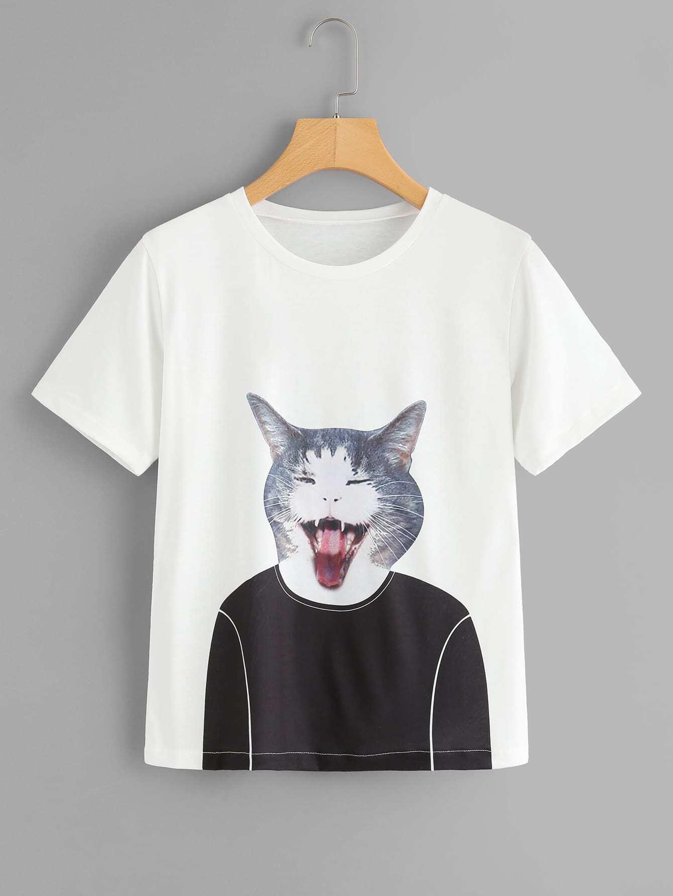 Cat Print Short Sleeve Tee sailing ship print short sleeve tee
