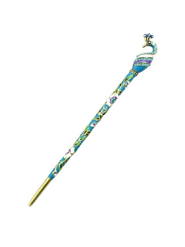Lightblue Ethnic Style Bohemian Peacock Shape Hair Sticks beibehang peacock hair classic fashion
