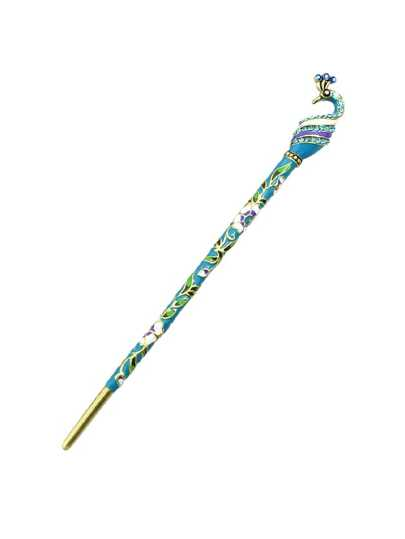 Lightblue Ethnic Style Bohemian Peacock Shape Hair Sticks
