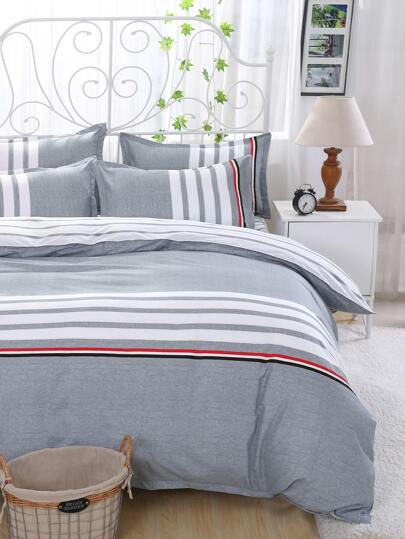 2.0m 4Pcs Contrast Striped Duvet Cover Set