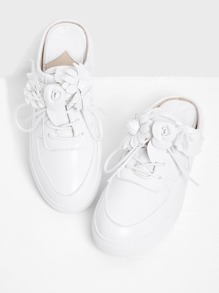 Flower Embellished Lace Up PU Shoes