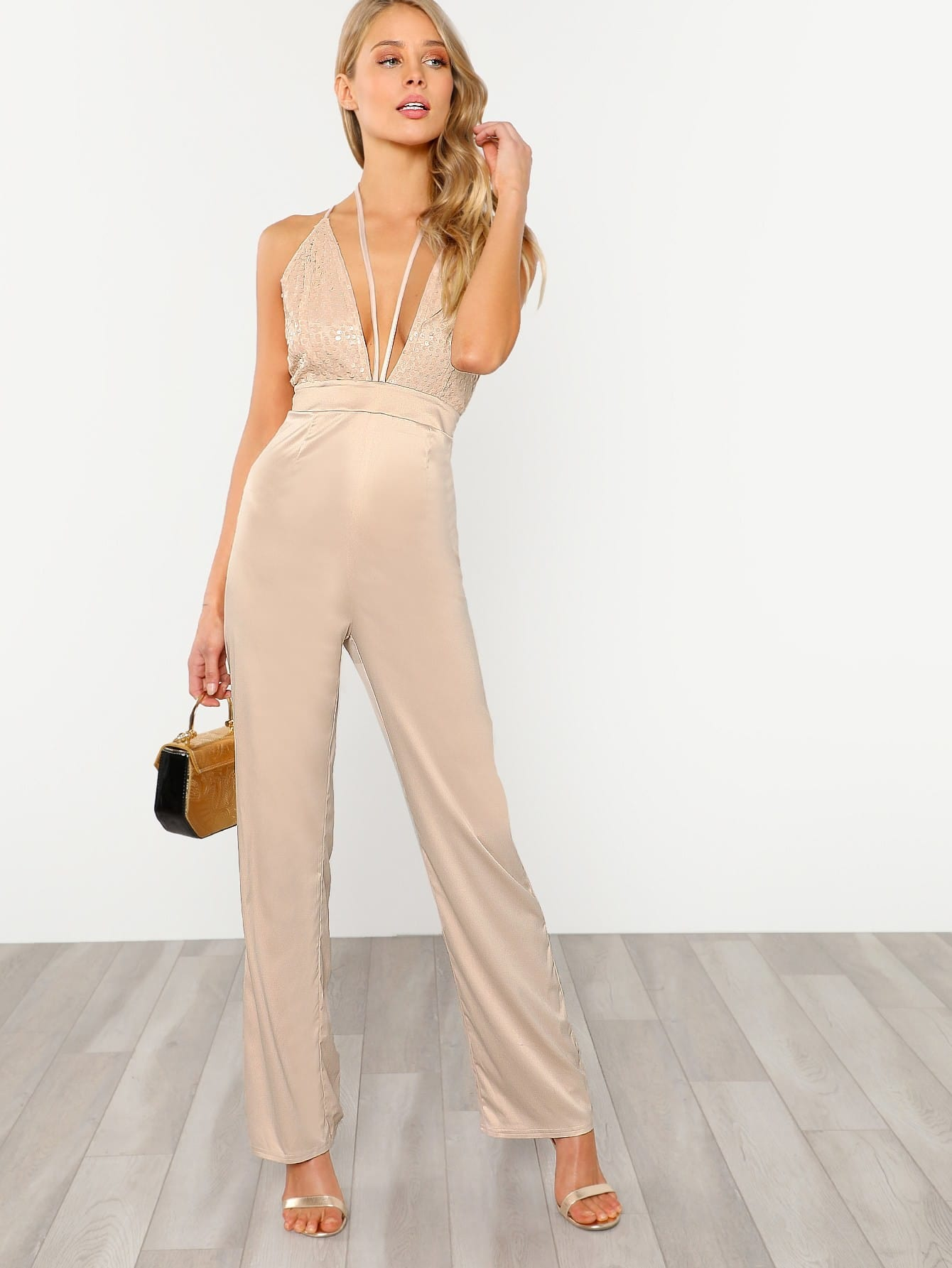 Halter Detail Plunge Sequin Bodice Jumpsuit contrast halter and binding layered ruffle bodice jumpsuit