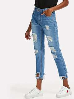 Bleached Wash Rips Detail Cropped Jeans