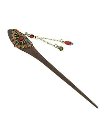 Colorful Chinese Style Wood Hairpin