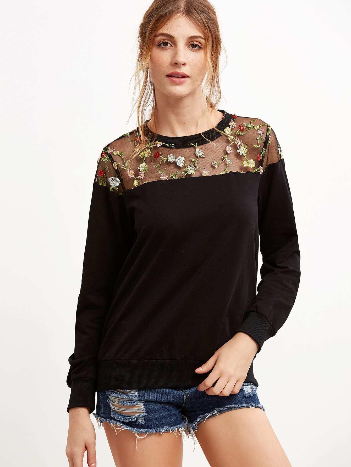 Black Embroidered Mesh Yoke Sweatshirt