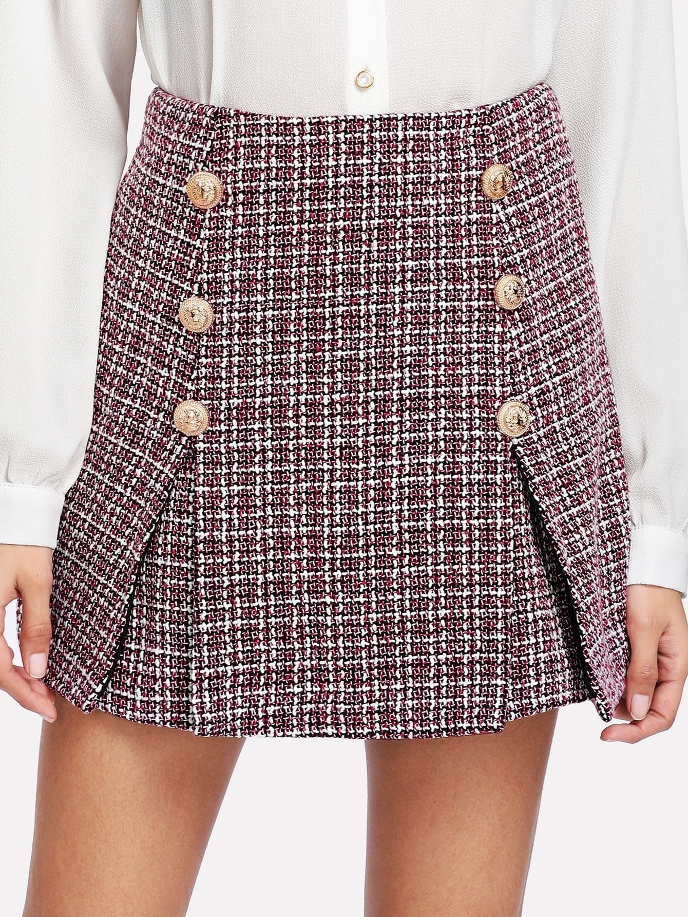 Double Button Tweed Skirt