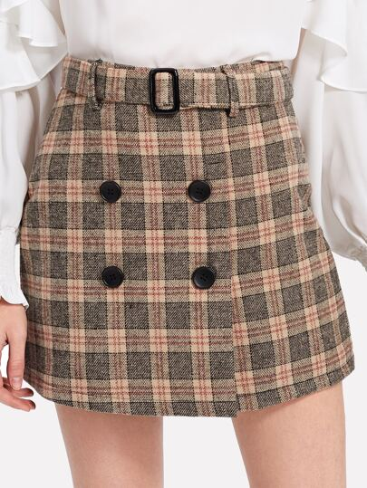 Double Breasted Tartan Plaid Skirt