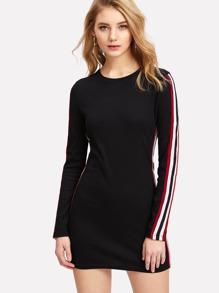 Stripe Contrast Sleeve Pencil Dress