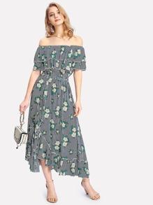 Mixed Print Tiered Ruffle Bardot Dress