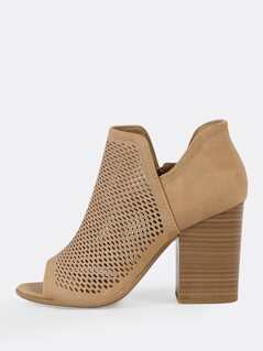 Open Toe Perforated Double V Side Slit Boots NATURAL