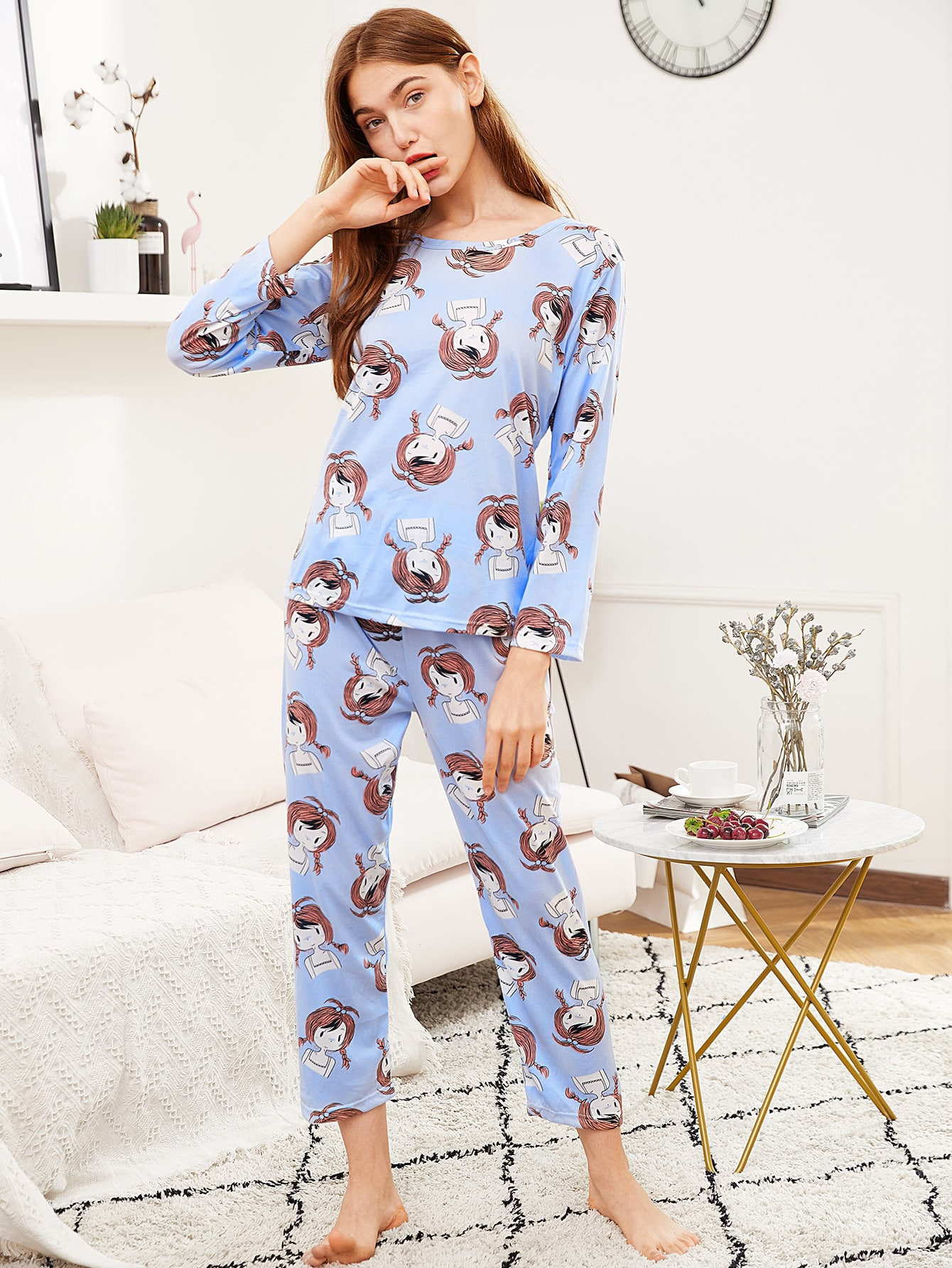 All Over Cartoon Girl Print Tee & Pants Pj Set