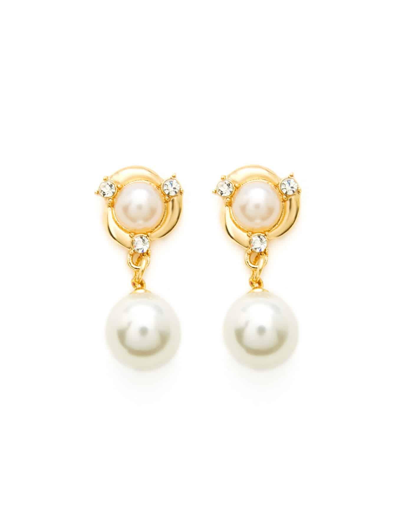 Double Faux Pearl Drop Earrings