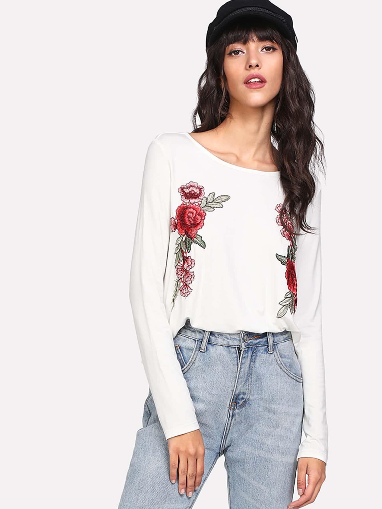 camiseta con bordado de rosa - shein espa09a