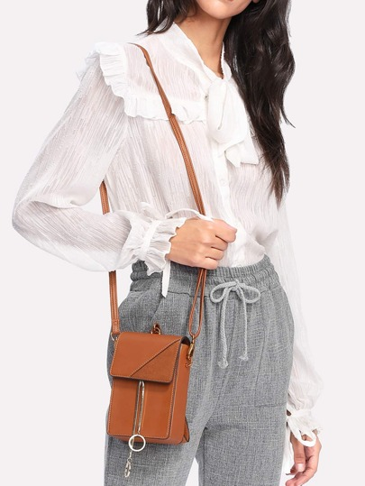 Double Ring Front PU Crossbody Bag