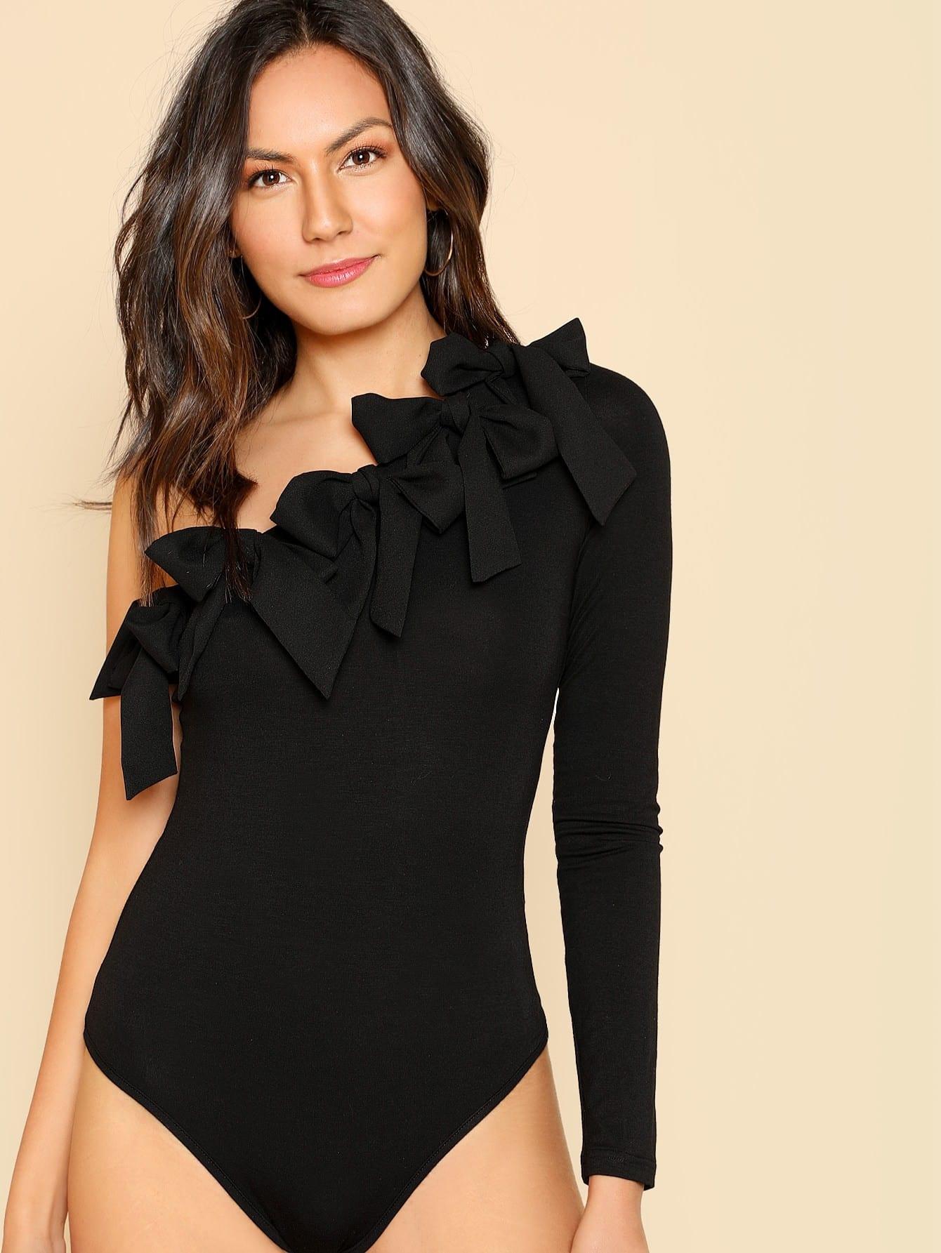 Купить Модное боди на одно плечо с бантом, Kendall Marie, SheIn
