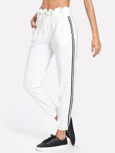 Striped Tape Side Ruffle Waist Sweatpants