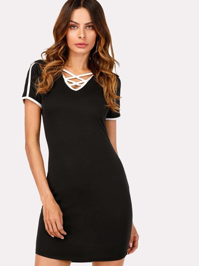 Contrast Binding Criss Cross Hooded Dress