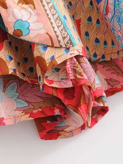 Romwe / Self Tie Floral Print Kimono Romper