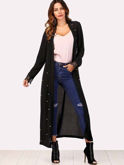Peals Beaded Detail Wrap Coat