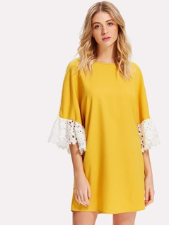 Lace Applique Pearl Beading Sleeve Dress