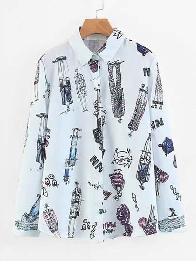 Graffiti Print Curved Hem Blouse