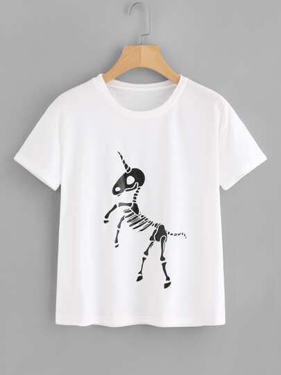 Unicorn Skeleton Print Tee