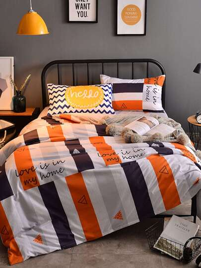 2.0m 4Pcs Contrast Striped Letter Print Duvet Cover Set