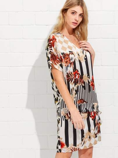 Mixed Print Knot Side Asymmetric Dress