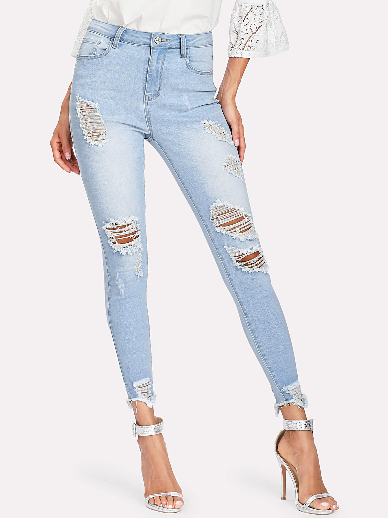 Bleach Wash Ripped Raw Hem Jeans lace up raw hem bleach wash hot pants