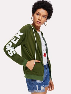 Letter Print Sleeve Hoodie Jacket