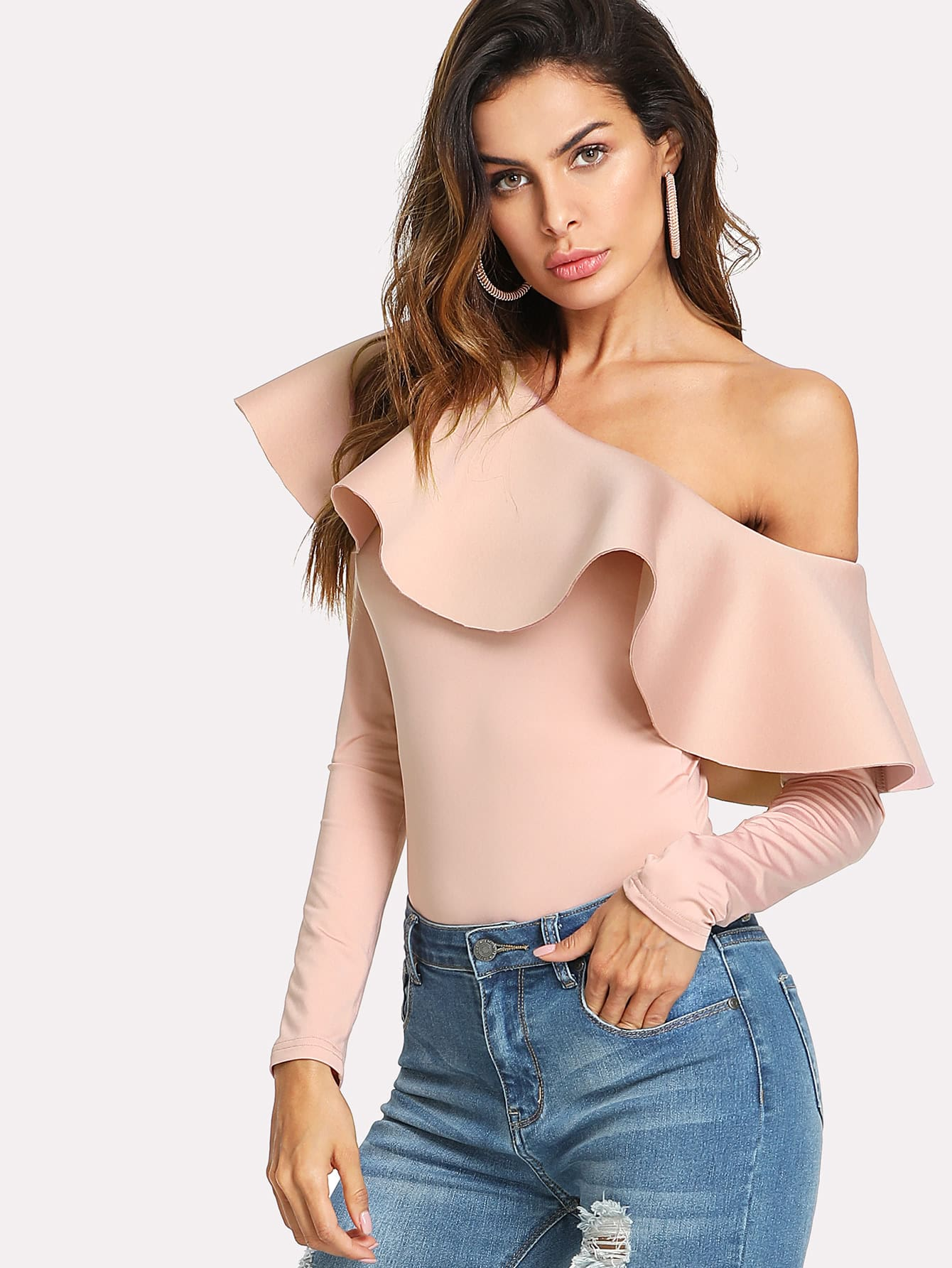Flounce Asymmetric Shoulder Bodysuit flounce shoulder ribbed knit bodysuit