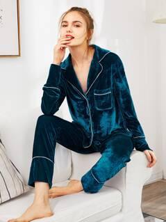 Notch Collar Binding Pocket Top & Pants Pajama Set