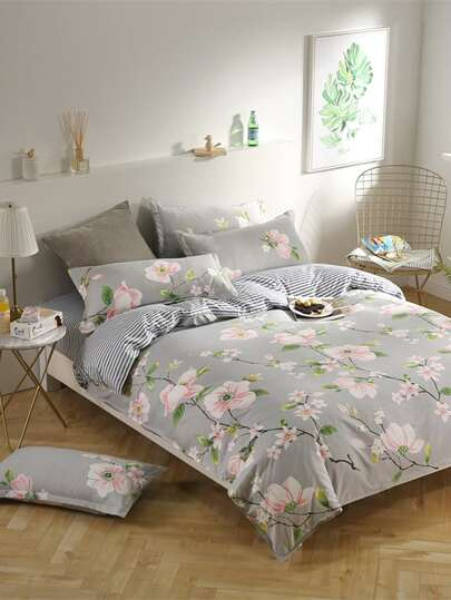 2.2m 4Pcs All Over Florals Duvet Cover Set