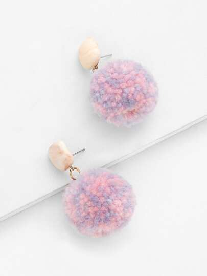 Stone Top Pom Pom Decorated Drop Earrings