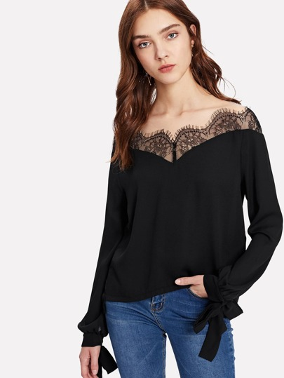 Eyelash Lace Panel Tie Cuff Top