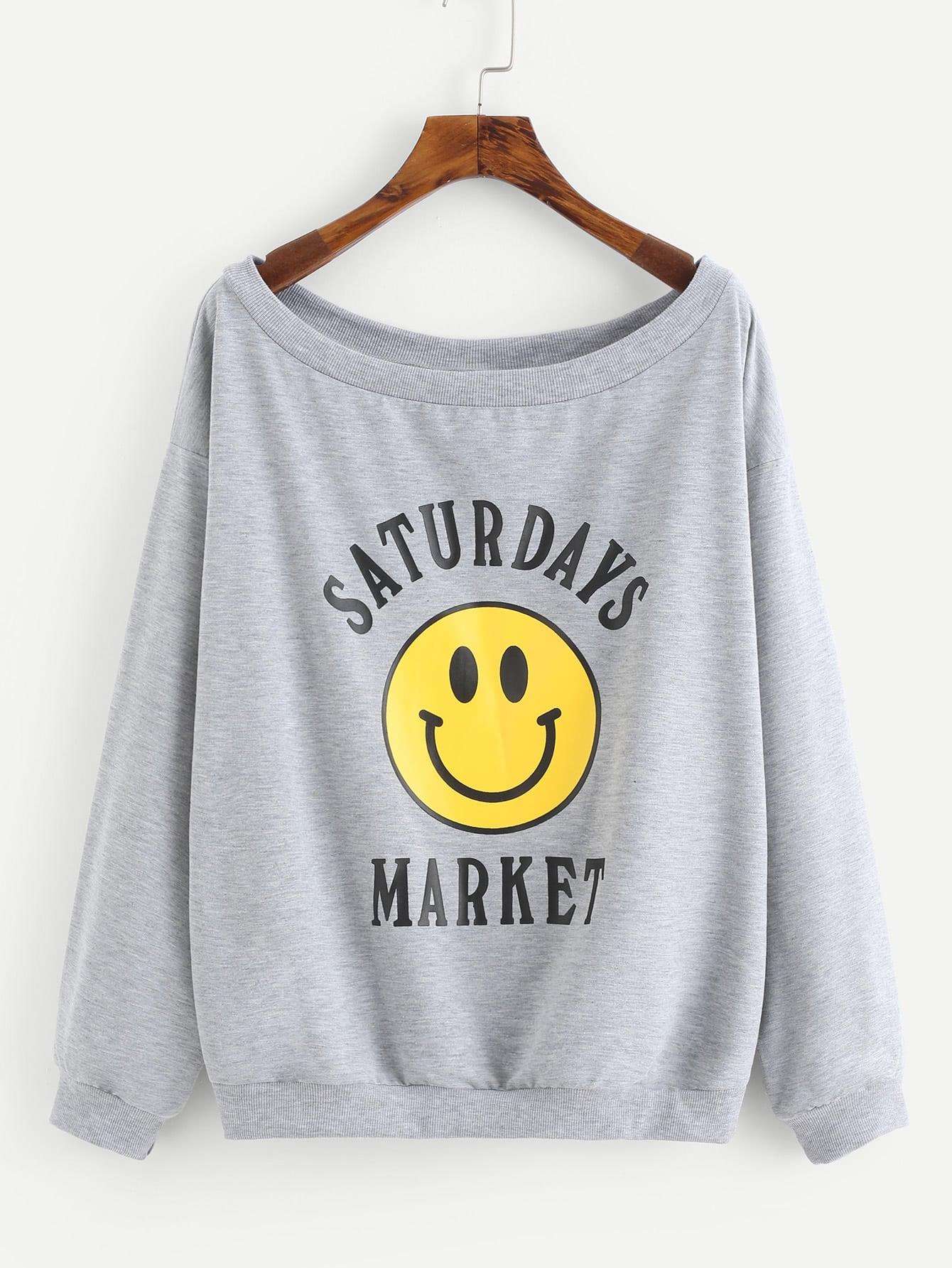 Drop Shoulder Mixed Print Heathered Sweatshirt