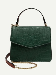 Croc Embossed Flap Grab Bag